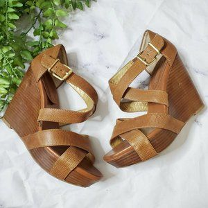 Banana Republic Cognac Brown Strappy Wedge Sandals